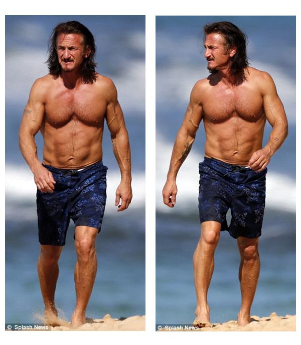 Agora aos 52 anos, Sean Penn continua a revelar uma excelente forma física