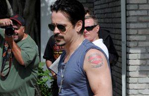 Colin Farrell exibe tatuagens no Memorial Day
