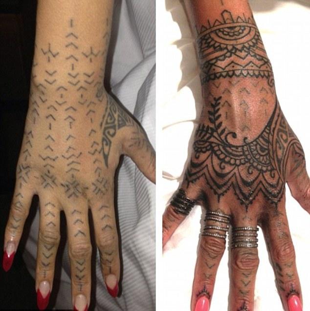 Rihanna paga viagem a artistas para melhorar tatuagem
