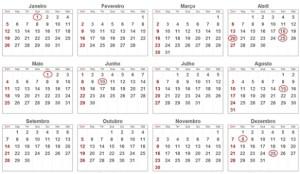 Calendário de Festas e Feriados em 2014