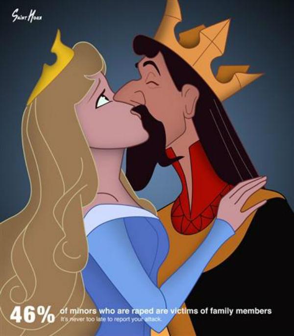 Princesas Disney em campanha de abusos sexuais